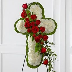 White Flower Cross with Red Rose Cluster