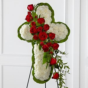 White Flower Cross With Red Rose Cluster Hallowell James