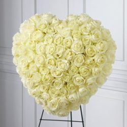 Solid White Rose Heart Easel Big